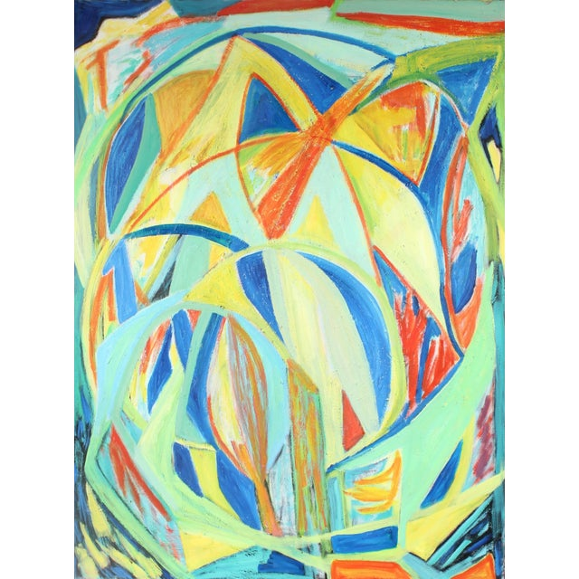 """This 2000 bright oil on canvas Cubist abstract entitled """"Leonid Meteor Shower"""" is by French-American painter Georgette..."""