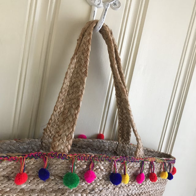 Boho Jute Large Basket Tote For Sale - Image 11 of 12