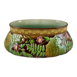 Choisy Le Roi Greek Key & Fern Large Majolica Jardinière