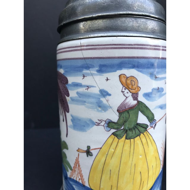 White 18th Century German Faience Polychrome Pewter-Mounted Tankard in Columnar Form For Sale - Image 8 of 11