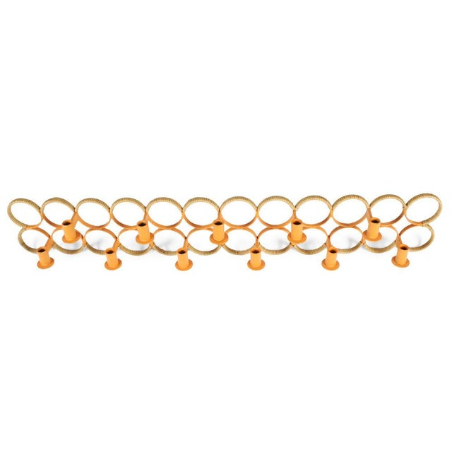 Raymor Orange Lacquered Wrought Iron Wall-Mounted Candelabra For Sale - Image 4 of 9