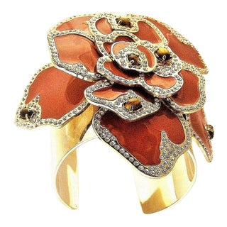 Massive Valentino Enamel Flower Cuff Bracelet For Sale
