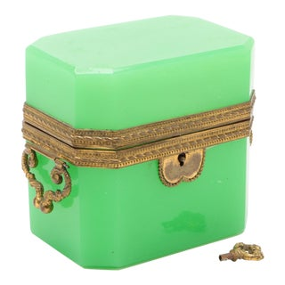 19th Century French Green Opaline Glass Casket For Sale