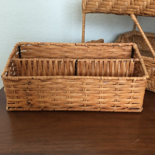 Very cute wicker desk set of a paper sorter and a pencil/envelope holder. Very sturdy and well made with metal inserted...