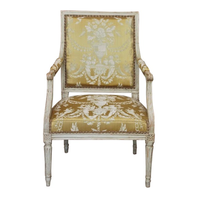 18th Century Painted Louis XVI Armchair For Sale