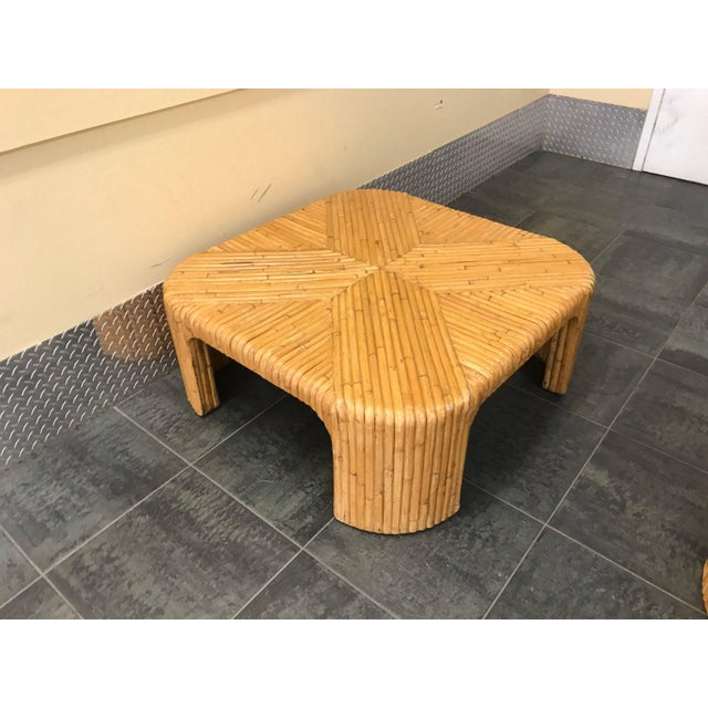 1970s Gabriella Crespi Style Split Reed Rattan Coffee Table For Sale - Image 5 of 5
