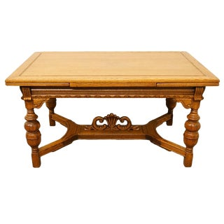 "1920's Jacobean Gothic Revival 96"" Dining Table With Draw Leaves For Sale"