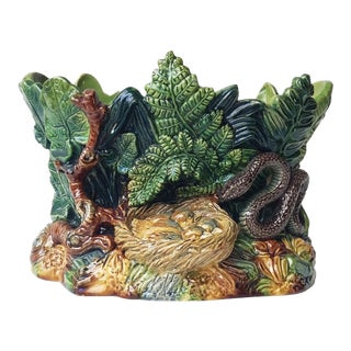 1880 Majolica Leaves and Snake Johann Maresch Jardinière For Sale