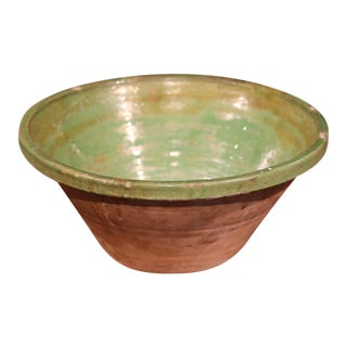 19th Century French Green Glazed Terracotta Tian Decorative Bowl from Provence