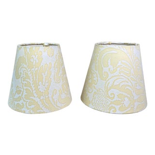 Contemporary Yellow Fortuny Lampshades - A Pair For Sale