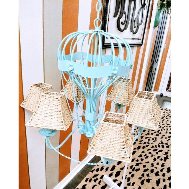 White Rare Italian Reggiani Lampadari Pale Blue High Gloss 6 Light Hot Air Balloon Chandelier Light Fixture For Sale - Image 8 of 8