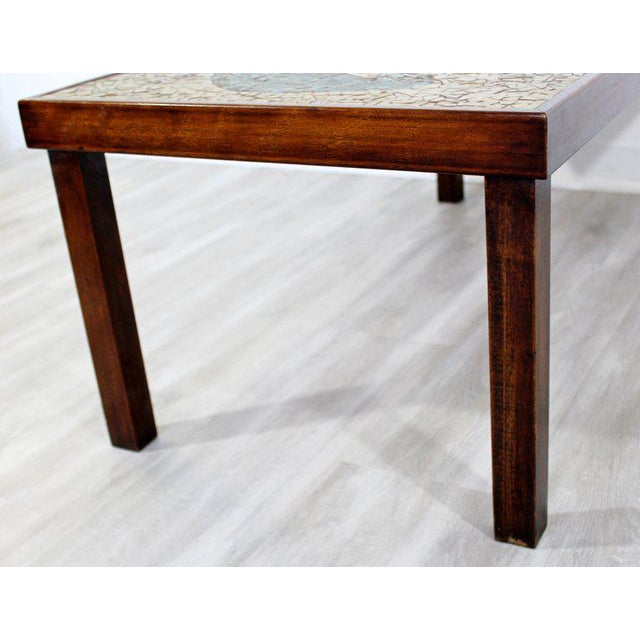 Wood Mid-Century Modern Birds Mosaic Tile Art Top Rectangular Wood Coffee Table, 1960s For Sale - Image 7 of 8