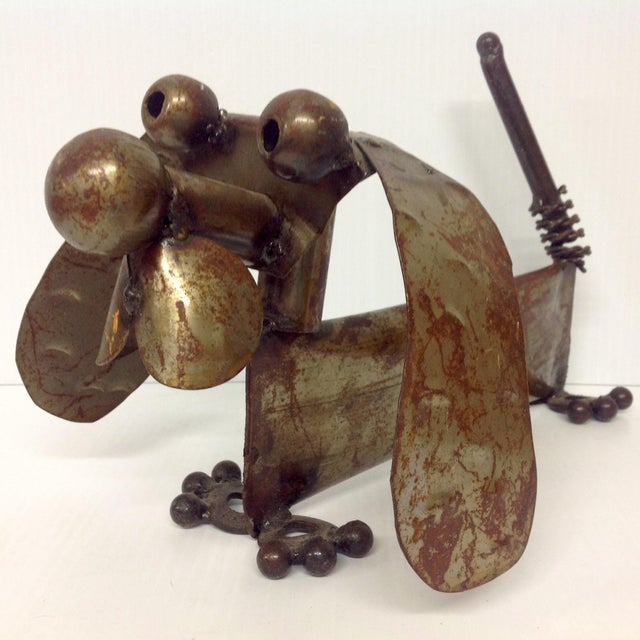 Industrial Steampunk Weiner Dog Sculpture. Extremely well executed piece of 70s. We ALWAYS accept reasonable offers....
