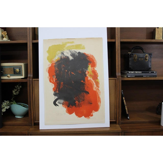 Abstract Abraham Rattner Abstract Painting Orange and Black For Sale - Image 3 of 5