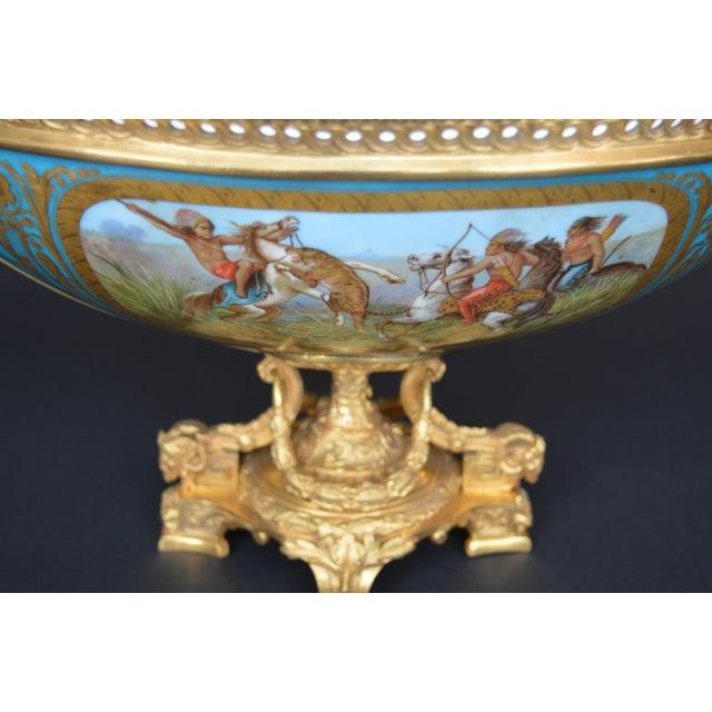 19th Century Sevres Style Parcel-Gilt Ormolu Mounted Enameled Blue Celeste Bowl For Sale - Image 5 of 7