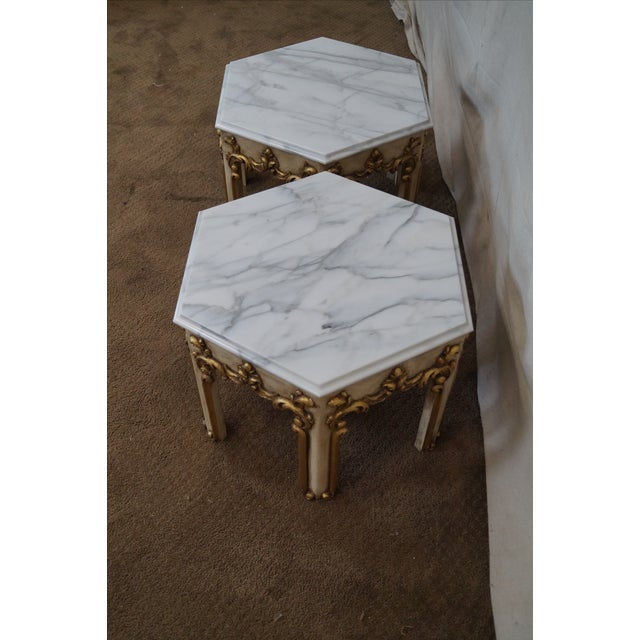 Hollywood Regency Partial Gilt Side Tables - Pair - Image 4 of 10