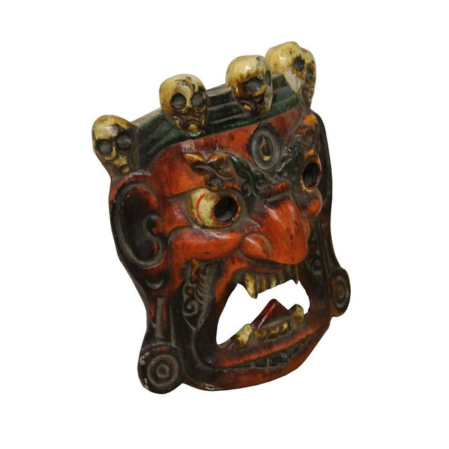Traditional Chinese opera mask, hand carved from solid wood, painted orange red and antique white, a great item to collect...