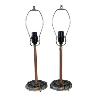 Table Lamps With Recycled Car Parts, a Pair For Sale