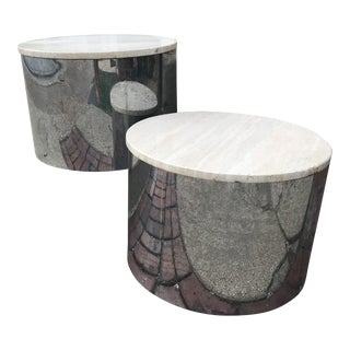 Paul Mayen Chrome / Marble Low Tables - a Pair