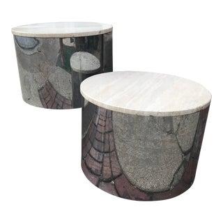 Paul Mayen Chrome / Marble Low Tables - a Pair
