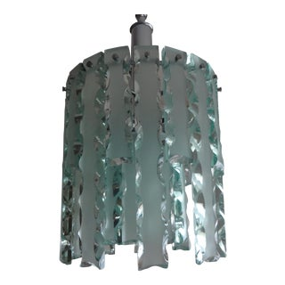 1960s Italian Zero Quattro-Fontana Arte Frosted Glass Chandelier For Sale