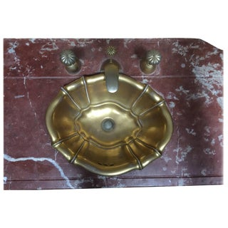 1970s Vintage Sherle Wagner Rouge Marble Powder Room Sink Top For Sale