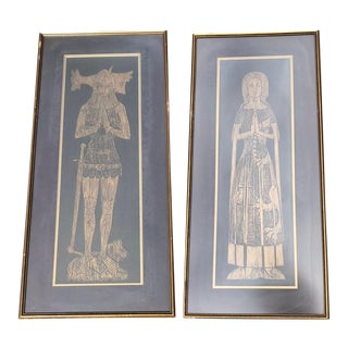 "Large ""Sir & Lady Foxely"" Gilded Brass Rubbings - A Pair"