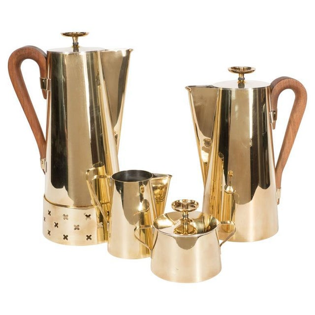 Tommi Parzinger for Dorlyn Silversmiths Coffee/Tea Service in Brass and Walnut For Sale - Image 11 of 11