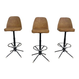 Mid-Century Swivel Barstools- Set of Four For Sale