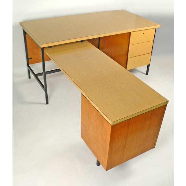 Florence Knoll Desk model #1544 EWR with natural woven cane KC-4 kneehole modesty panel. Top drawer retains the original...