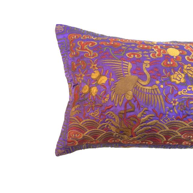 Vintage Lilac Silk Crane Boudoir Pillow For Sale - Image 5 of 7