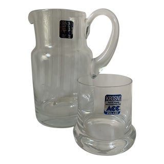 1990s Vintage Krosno Hand Made Glass Anheuser Busch Pitcher For Sale