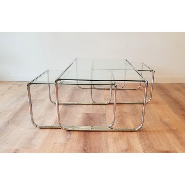 1970s Glass and Chrome Coffee Table With Nesting Side Tables Made in Italy For Sale - Image 4 of 10