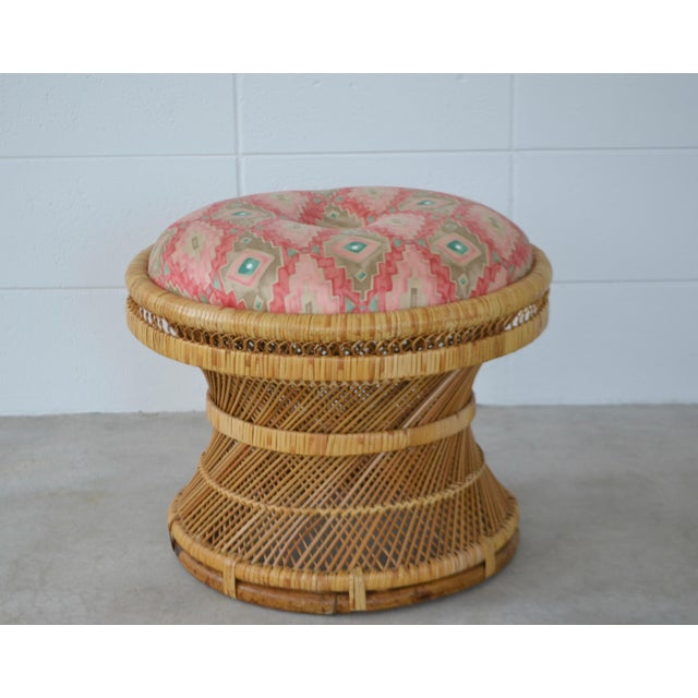 1960s Mid-Century Woven Rattan Stool For Sale - Image 5 of 10
