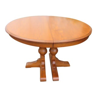 Round Pedestal Oak Dining Dinette Table by Jefferson Woodworking Co For Sale