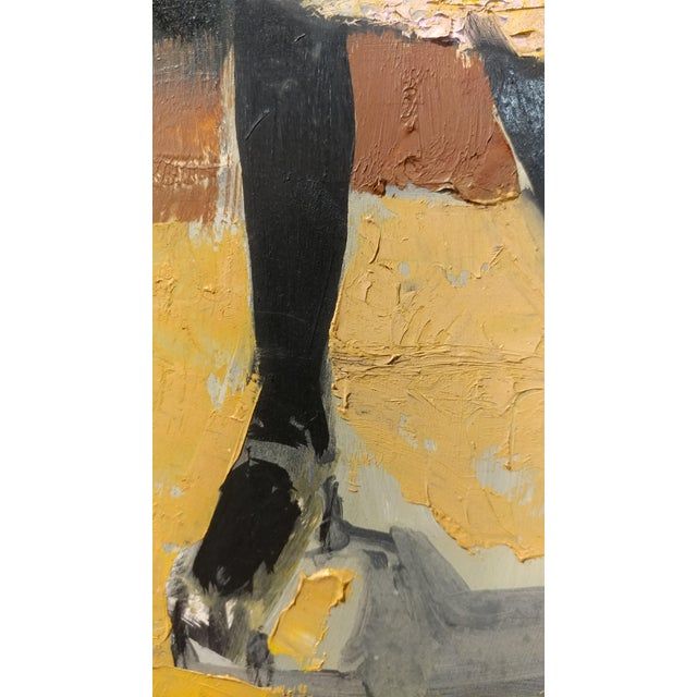Girl with a Black Coat -1961 Mid century Modern Oil painting by Weber - Image 6 of 10