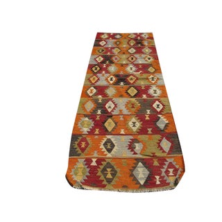 "Turkish Handwoven Kilim Runner Rug - 8""x2'10"""