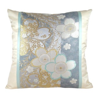 Cherry Blossom and Weeping Willow Japanese Silk Obi Pillow Cover For Sale