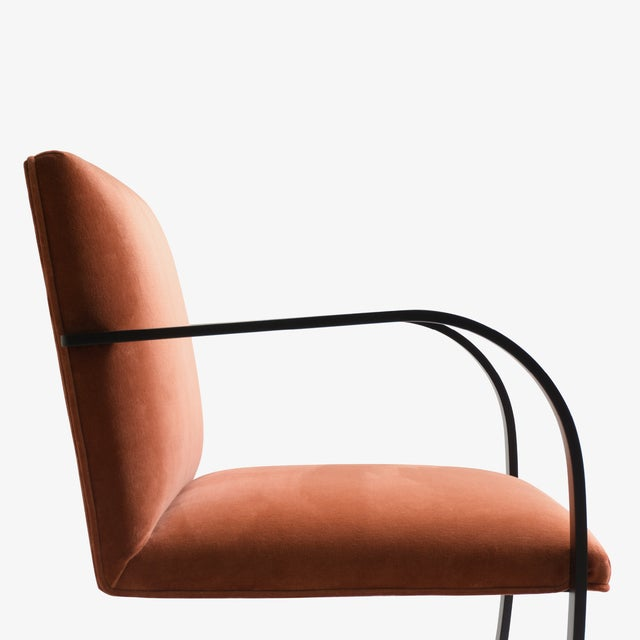 Not Yet Made - Made To Order Brno Flat-Bar Chairs in Rust Velvet, Obsidian Matte Frame - Set of 6 For Sale - Image 5 of 11