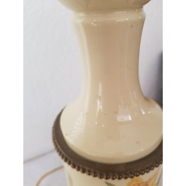 Metal Antique Bouillotte Porcelain & Brass Table Lamp For Sale - Image 7 of 10
