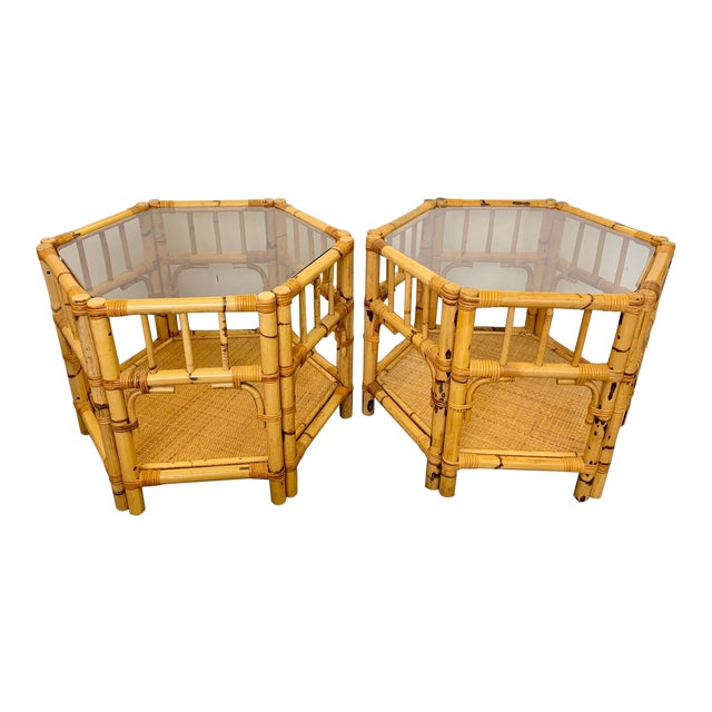 1960s Boho Chic Octagonal Rattan and Bamboo End Tables With Glass Tops - a Pair For Sale
