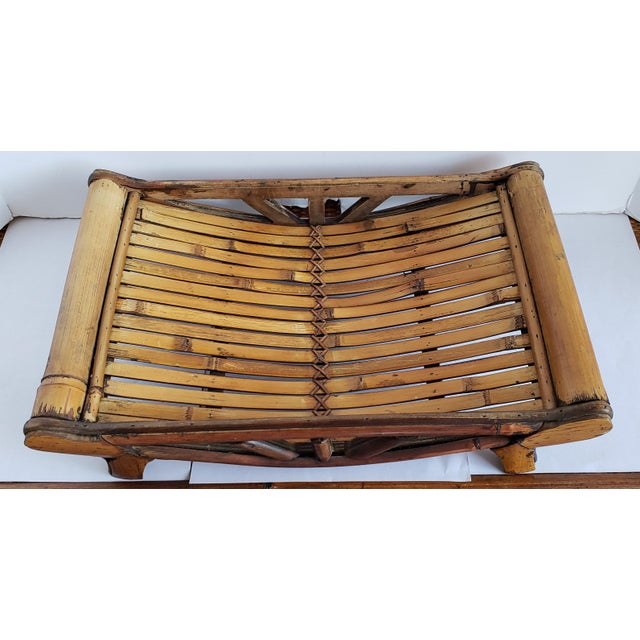 1990s Small Bamboo Decorative Tray For Sale - Image 5 of 5