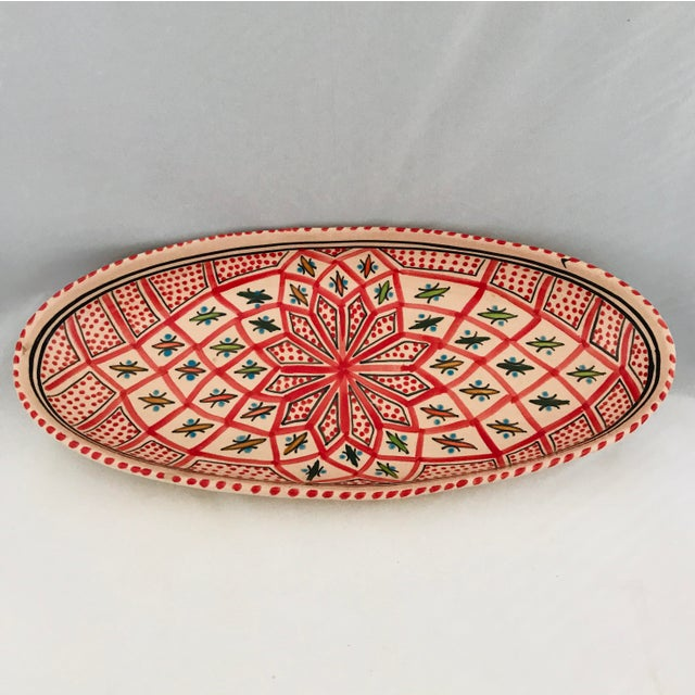 Vintage Terra Cotta Mexican Painted Dish Server For Sale - Image 10 of 10
