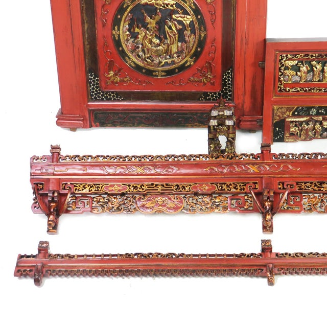 Chinese Opium Wedding Bed Intricately Carved Panel For Sale - Image 9 of 13