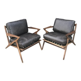 Custom Pair of Z Chairs in Distressed Black Leather For Sale
