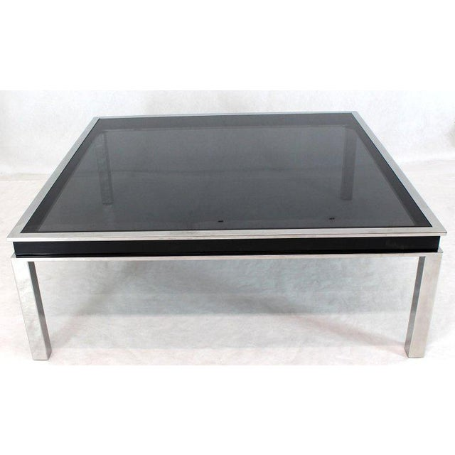 1970s Extra Large Polished Chrome Square Smoked Glass Coffee Table For Sale - Image 13 of 13