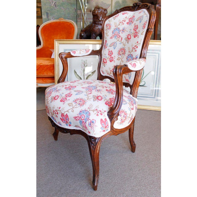 18th Century French Provincial French Louis XV Fauteuil Arm Chairs - a Pair - Image 3 of 10
