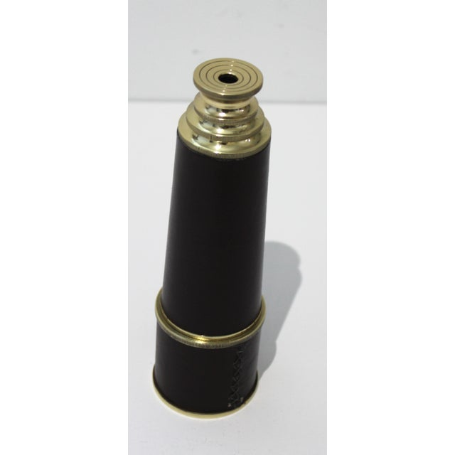 """Mid-Century Telescope Brass & Leather Expands to 17"""" For Sale - Image 4 of 7"""