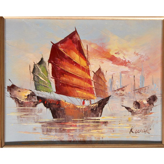 Canvas Vintage Coastal Nautical Sailboat Oil Painting For Sale - Image 7 of 11