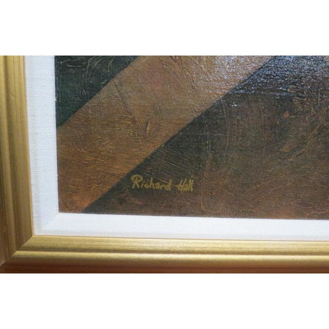 Textured paint in cream, green, gold, orange, brown colors. Signed lower left. Cream linen liner, gold frame. Perfect for...